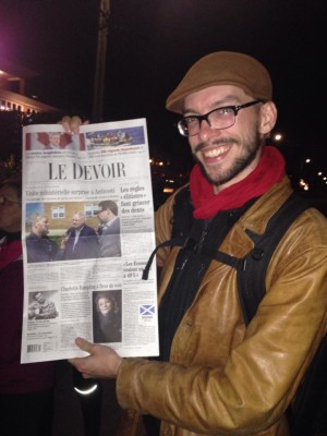 Ma photo en Une du Devoir, 16 septembre 2014. Photo Lyne Morissette.