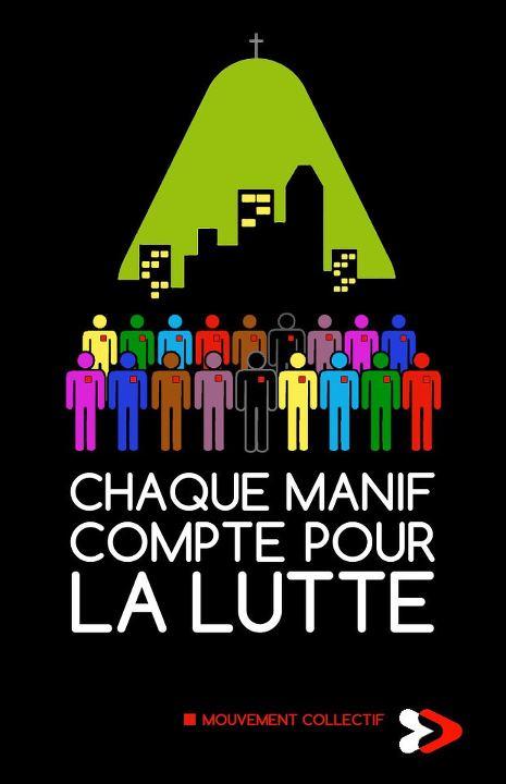 Chaque manif compte pour la lutte (Détournement d'une affiche de la STM par Moïse Marcoux-Chabot)